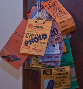 """collection of pit passes serves as a reminder of the """"good old days."""""""