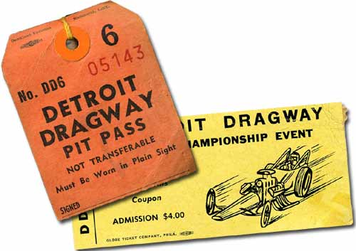 Such a deal. $4.00 admission, two bucks for a pit pass. A big name nitro funny car show for six dollars total. Ah, to be back at Detroit Dragway in 1966