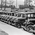 Model A Fords parked in a row
