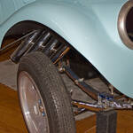 Fenders, axle and headers detail of Willys Gasser