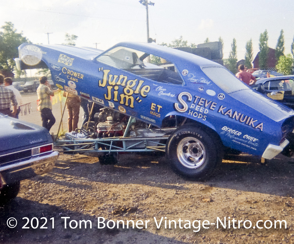"""""""Jungle Clare"""" Sanders in the pits at Detroit Dragway."""