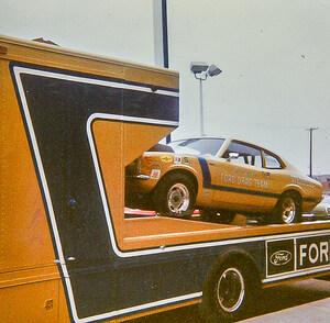 Maverick seen on Ford Drag Clinic transporter